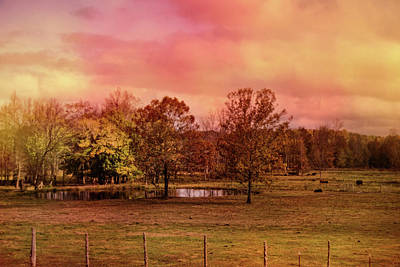 Autumn At The Cattle Farm Landscape Art Poster