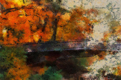 Autumn At The Foot Bridge 03 Poster by Thomas Woolworth