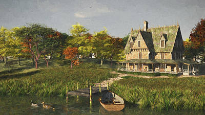 Poster featuring the digital art Autumn At The Lake by Jayne Wilson