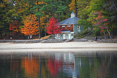Autumn At Walden Pond Fall Trees Concord Ma Poster