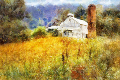 Poster featuring the digital art Autumn Barn In The Morning by Francesa Miller