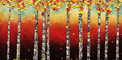 Poster featuring the painting Autumn Birch Trees by Carmen Guedez