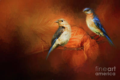 Autumn Blue Birds Poster