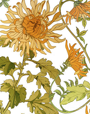 Autumn Chrysanthemums I Poster by Mindy Sommers