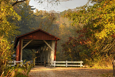Autumn Covered Bridge Poster