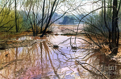 Poster featuring the painting Autumn Creek by Sergey Zhiboedov
