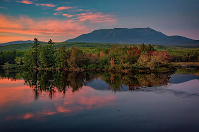 Autumn Dusk At Mount Katahdin Poster
