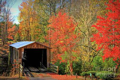 Autumn Elder Mill Covered Bridge Poster by Reid Callaway