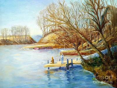 Autumn Fishing At The Lake Poster