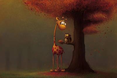 Autumn Giraffe Poster by Tooshtoosh