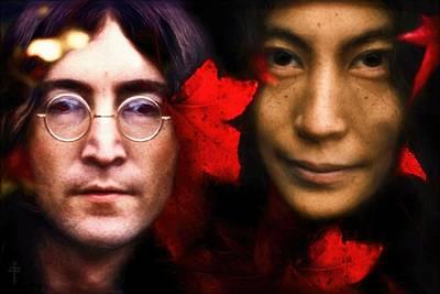 Autumn Imagine   Lennon And Yoko Poster by Daniel  Arrhakis