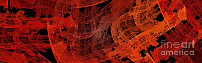 Poster featuring the digital art Autumn In Space Abstract Pano 1 by Andee Design