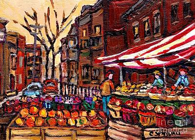 Autumn In The City Outdoor Market Small Format Paintings For Sale Best Montreal Art Carole Spandau Poster by Carole Spandau