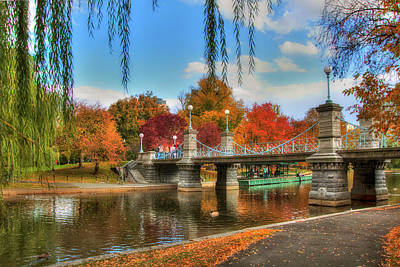 Autumn In The Public Garden - Boston Poster by Joann Vitali