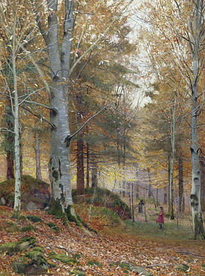 Autumn In The Woods Poster by James Thomas Watts
