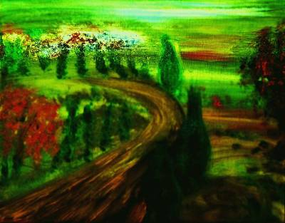 Poster featuring the painting Autumn In Tuscany by Evelina Popilian