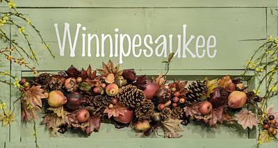 Autumn Lake Winnipesaukee Sign Fall Poster by Betty Denise