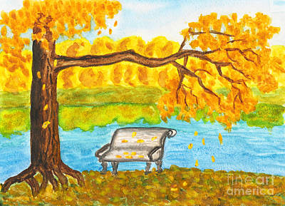 Autumn Landscape With Tree And Bench, Painting Poster