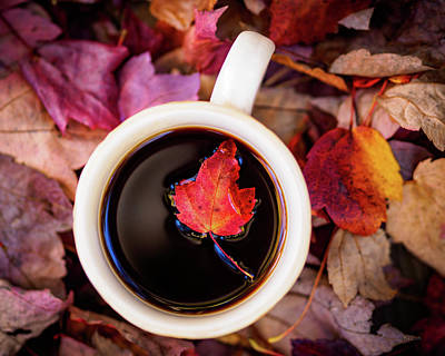 Autumn Leaves And Hot Coffee Poster