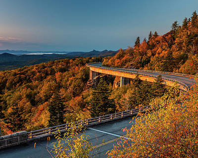 Morning Sun Light - Autumn Linn Cove Viaduct Fall Foliage Poster