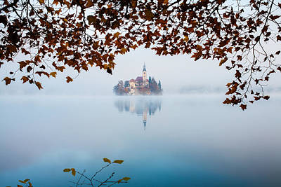 Autumn Mist Over Lake Bled Poster
