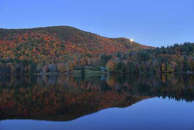 Autumn Moonrise In The Green Mountains Poster by John Burk