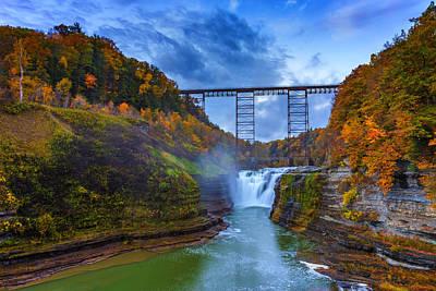 Autumn Morning At Upper Falls Poster by Rick Berk