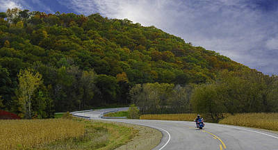 Autumn Motorcycle Rider / Blue Poster
