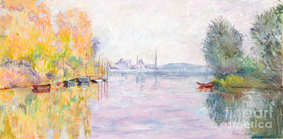 Autumn On The Seine At Argenteuil After Claude Monet By Marilyn Nolan-johnson Poster by Marilyn Nolan-Johnson