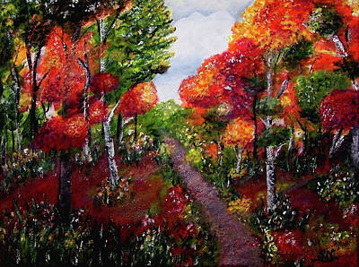 Poster featuring the painting Autumn Path by Sonya Nancy Capling-Bacle
