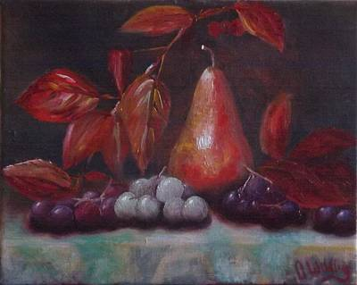 Autumn Pear With Grapes Poster