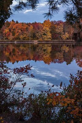 Autumn Peeking Through Lake Horicon Nj Poster by Terry DeLuco