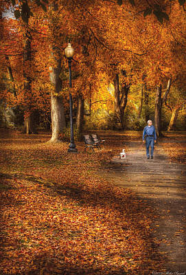 Autumn - People - A Walk In The Park Poster by Mike Savad