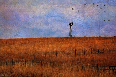 Autumn Prairie Windmill Poster