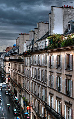 Autumn Rain Paris France Poster