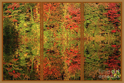 Poster featuring the photograph Autumn Reflections In A Window by Smilin Eyes  Treasures