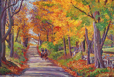 Autumn Ride Poster by David Lloyd Glover
