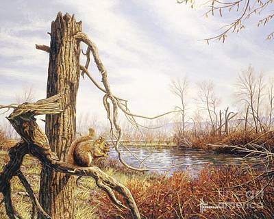 Autumn River-red Squirrel Poster