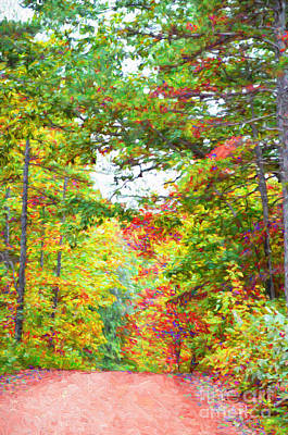 Autumn Road - Digital Paint Poster by Debbie Portwood