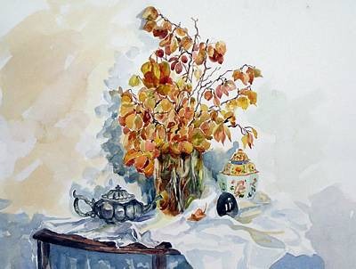 Poster featuring the painting Autumn Still Life by Pat Crowther