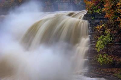 Autumn Storm At The Upper Falls Poster by Rick Berk
