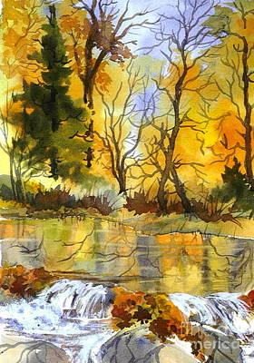 Autumn Stream Poster by Pat Crowther