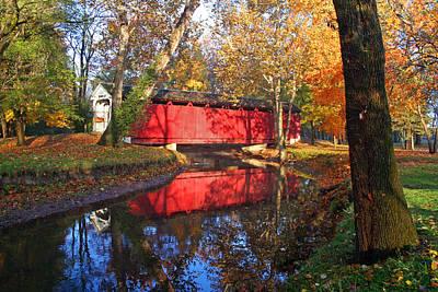 Autumn Sunrise Bridge II Poster by Margie Wildblood