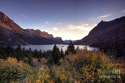 Autumn Sunset At Wild Goose Island In Glacier National Park Poster by Brandon Alms