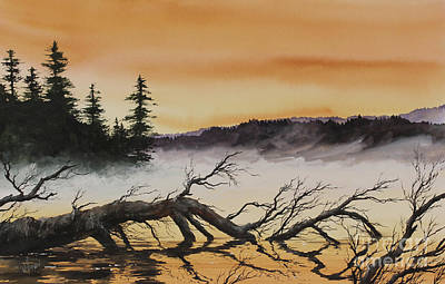 Poster featuring the painting Autumn Sunset Mist by James Williamson