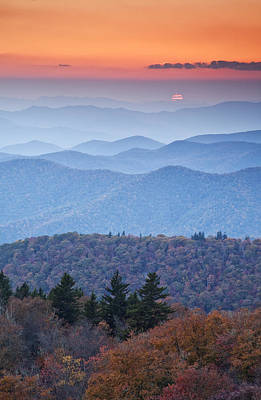 Autumn Sunset On The Parkway Poster by Rob Travis