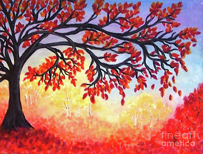 Poster featuring the painting Autumn Tree by Sonya Nancy Capling-Bacle