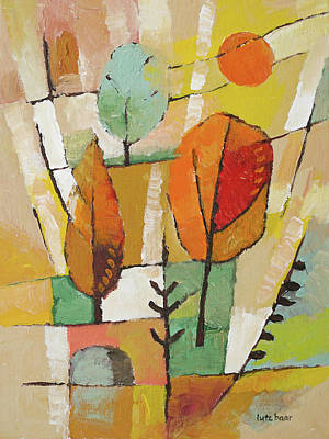 Autumn Trees Painting Poster