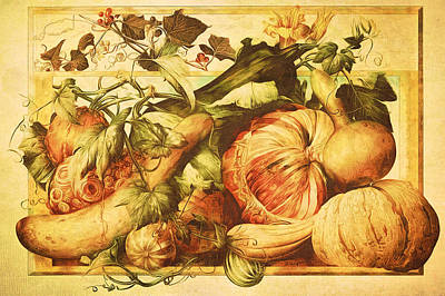 Poster featuring the digital art Autumn Vegetable Harvest  by Tracie Kaska