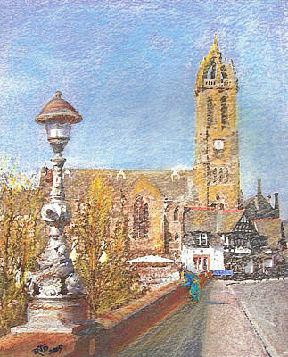 Autumn View Along The Bridge Peebles Poster by Richard James Digance